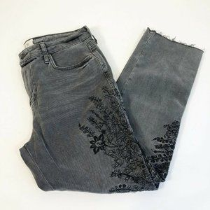 We The Free Embroidered Crop Girlfriend Jeans 29 G